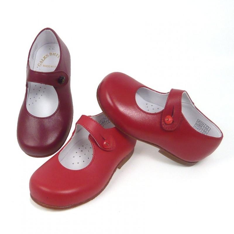 talla 40 bf760 42e83 Merceditas niña botón suela de cuero - Zapatos Gales Britain's